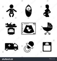 Pregnancy and birth icons set. Baby and woman, childbirth and motherhood, vector illustration Baby Silhouette, Baby Girl Clipart, Gravure Laser, Baby Icon, Calligraphy Name, Diy Bebe, Baby Frame, Diy Resin Crafts, Baby Album