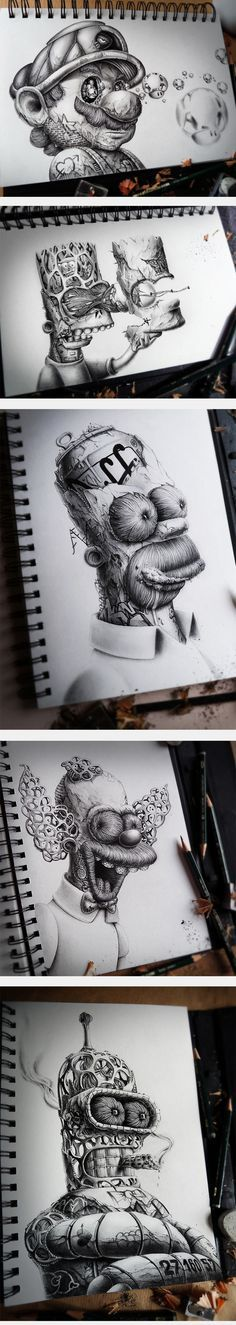 Amazing Sketches Of Famous Characters personajes caricaturas dibujo