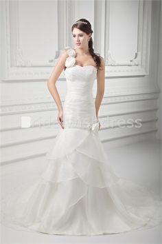 Corset-back Petite Satin Organza A-Line New Arrival Wedding Dresses