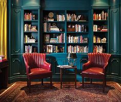 [I love the high gloss paint!] Find cozy libraries that are inviting and warm, from spaces with dark walls and rows of floor-to-ceiling books to eclectic rooms with global decor.