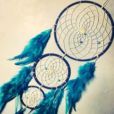 Blue faux suede trim triple dream catcher, white beaded web, rooster feathers and glass bead finish 15cm diameter dreamcatcher hand made