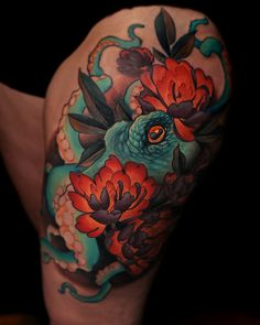 Octopus Tattoo | Octopus and Peonies | Peony Tattoo | Thigh Tattoo Joshua Tenneson