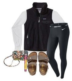 """""""Comfy❤️"""" by ambermillard ❤ liked on Polyvore featuring Patagonia, NIKE, Vera Bradley, Birkenstock and Burt's Bees"""