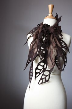 Nuno felted scarf Chocolate / Brown wool silk by VitalTemptation, $73.00