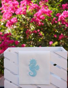 Seahorse embroidered linen towels, wedding, bridal shower or hostess gift, kitchen and bath linens - FIND MORE HOME & BRIDAL LINENS BY CLICKING THE PHOTO ABOVE!