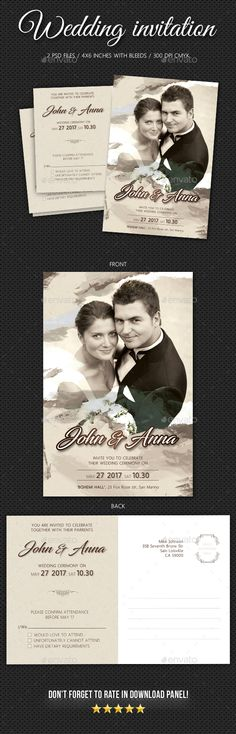 Pack included:   Wedding Invitation  2 PSD files  Double Side card  Print size: 6.254.25 inches  Final size: 64 inches  Bleed