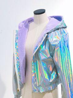 2 sides holographic jacket in 2019 Kawaii Fashion, Cute Fashion, Girl Fashion, Womens Fashion, Fashion Black, Fashion Ideas, Vintage Fashion, Holographic Jacket, Holographic Fashion