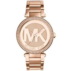 Michael Kors Rose Gold Mid-Size Rose Gold-Tone Stainless Steel Parker... ($250) ❤ liked on Polyvore featuring jewelry, watches, accessories, bracelets, relogio, rose gold, rose gold jewelry, stainless steel wrist watch, oversized rose gold watches and michael kors watches
