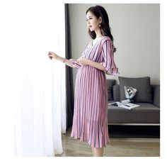 e03e1330507 Maternity Dress V-Neck Half Sleeve Casual Large Size Long Section Of Chiffon  Dresses For Pregnant Women Maternity Clothes