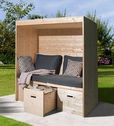 Outdoor Seating, Outdoor Spaces, Outdoor Living, Outdoor Decor, Backyard Plan, Backyard Sheds, Garden Furniture, Diy Furniture, Outdoor Furniture