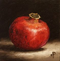 Little Pomegranate Original Oil Painting still by JanePalmerArt