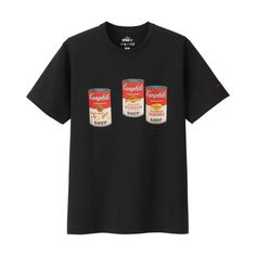 UNIQLO Andy Warhol Soup Can T-Shirt in color Black Andy Warhol Soup Cans, Uniqlo, My Outfit, Fashion Outfits, My Style, Modern, Color Black, Mens Tops, T Shirt