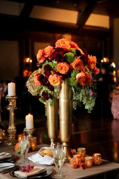Orange and Gold Wedding Centerpiece | photography by http://www.peppernix.com