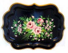 """Tole refers to decorated tin and iron wares from 1700-1900"" Beautiful images of tole trays with painted flowers."