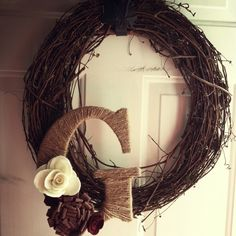 Wreath with Twine Letter and Felt Flowers $20.00