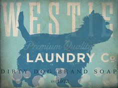 Westie Laundry Company illustration graphic art on gallery wrap canvas by stephen fowler by geministudio on Etsy https://www.etsy.com/listing/124030027/westie-laundry-company-illustration