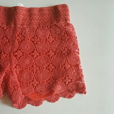 """Crochet shorts -XL NWT.  Coral/Orange crochet shorts Lined - 65% Cotton 35% Polyester 32"""" waist unstretched 14"""" long 3.5"""" Inseam  NO trades/PP Shorts"""