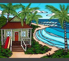 """ALOHA HAWAII BEACH /"""" KITE BEACH /"""" ~ HOLZ BOARD SCHILD WAND BRETT SURF KITE WAKE"""