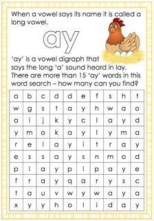 Long a vowel sound - ay worksheet. Free and printable from Classroom Treasures.