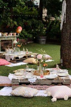 Boho Garden Party Birthday Party Ideas / http://www.himisspuff.com/rustic-wood-pallet-wedding-ideas/2/