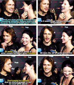 When he admitted to watching his steamy sex scene with Cait… with Cait. | 18 Times Sam Heughan Was Funny, Gorgeous, And Adorable AF