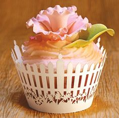 white picket fence cupcake wrapper