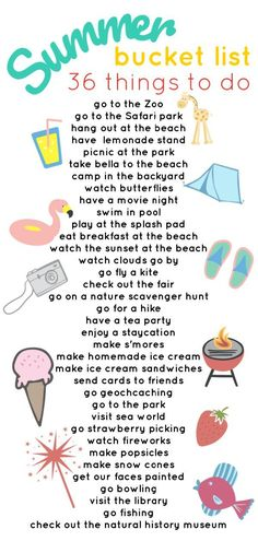 Our 2018 Summer Bucket List - Jessica Lynn Writes Not sure what do do this summer? Get the whole family involved and create a fun summer bucket list. Here are 36 ideas to get you started! Summer Fun For Kids, Summer Fun List, Summer Activities For Kids, Summer Bucket, Family Activities, Indoor Activities, Summer Plan, Teen Summer, Indoor Games