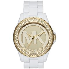 MICHAEL Michael Kors Michael Kors 'Madison' Crystal Bezel Logo Watch,... ($135) ❤ liked on Polyvore featuring jewelry, watches, accessories, accessories // jewelry, bracelets, stainless steel jewelry, bracelet watch, michael michael kors, stainless steel watch bracelet and dial watches