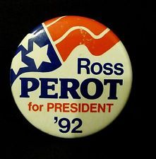 1992 Ross Perot for President Pinback Button, Political