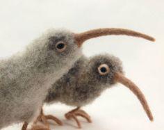 Kiwi.  Agulha em feltro Kiwi.  Lã Escultura macia, pássaros agulha feltrada