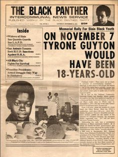 """""""Memorial Rally for Slain Black Youth. On November 7 Tyrone Guyton Would Have been 18-years-old,"""" The Black Panther, November 13, 1976."""