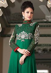 The fascinating beautiful subtly garment with lovely patterns. The dazzling dark green faux georgette churidar suit have amazing embroidery patch work is done with resham, zari and stone work. Beautiful embroidery work on kameez is stunning. The entire ensemble makes an excellent wear. Matching santoon churidar and chiffon dupatta is available with this suit. Slight Color variations are possible due to differing screen and photograph resolutions.