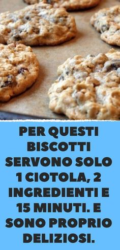 biscotti banane e avena Dairy Free Chocolate Chip Cookies Recipe, Chip Cookie Recipe, Cookie Recipes, Dessert Recipes, Nutella, Biscotti Cookies, Sweets Cake, Italian Desserts, Wonderful Recipe
