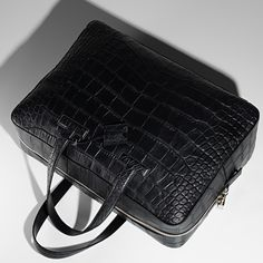 The luxurious T Line Briefcase in black alligator. #TOMFORD
