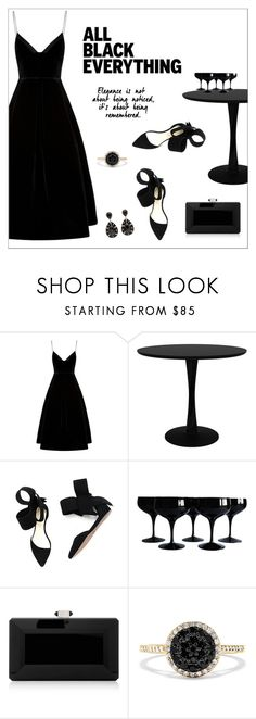 """Mission Monochrome: All-Black Outfit"" by alinepinkskirt ❤ liked on Polyvore featuring Aminah Abdul Jillil, Judith Leiber, Effy Jewelry and allblackoutfit"