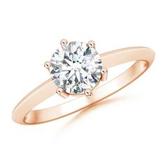 Angara Tapered Shank Moissanite Solitaire Ring with Four Prong