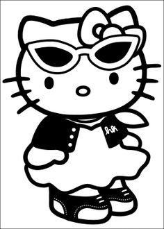 Printable Hello Kitty Coloring Pages For Kids. When we first heard Hello Kitty, the first one that occurred in our minds was a cute cat character that was very Hello Kitty Colouring Pages, House Colouring Pages, Cartoon Coloring Pages, Coloring Pages For Kids, Coloring Books, Sanrio Hello Kitty, Hello Kitty Haus, Images Hello Kitty, Hello Kitty Fotos