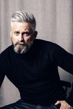 Model swedish grey hair silverfox mens style beard grooming silver male men's apperal men's clothes turtleneck - - Older Men Haircuts, Trendy Mens Haircuts, Cool Hairstyles For Men, Men's Haircuts, Beard Styles For Men, Hair And Beard Styles, Hair Styles, Grey Beards, Men With Grey Hair