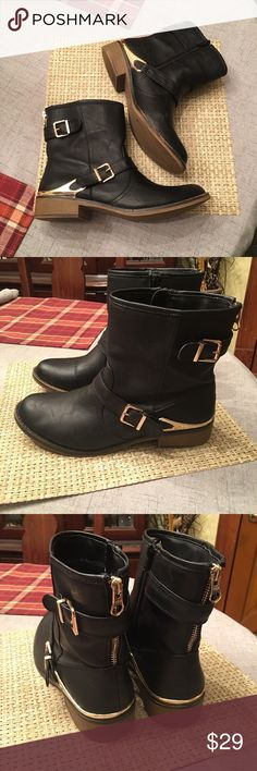 Black Short Boots w/ Gold Zippers Size 9-1/2, beautiful black boots with gold Zippers and trim. Flexible rubber soles for long term comfort. Like new. Clean, non smoking home. Happy to bundle. Mossimo Supply Co Shoes Ankle Boots & Booties