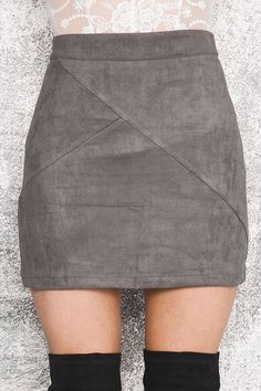 - Available in Khaki, Gray, and Wine Red - Pencil Style - Above the Knee - Empire Waist
