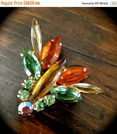 Verified Juliana D&E Bug Brooch, Multi Color Rhinestones, Marquise and Chatons, Book Piece, 1960s
