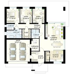 Bungalow Antares 3 project - Ground floor m² + garage m² The History Of Almond Tree, 'P Best House Plans, Dream House Plans, Small House Plans, House Plans Mansion, Architectural Floor Plans, House Design Pictures, Model House Plan, Bungalow House Design, Good House