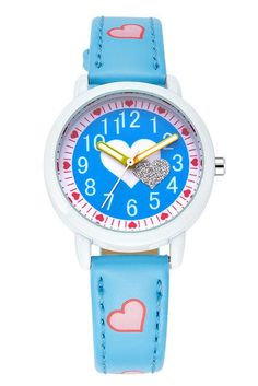 I love the heart in the middle of this girls writs watch.