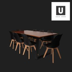 Vuyo 8 Seater Dining Table Golden wallnut, Black legs MDF 220(W) x 95(L) x 75(H) cm No assembly required  8 x Nissi Black Chair PP seat Beech wood legs 49.3(W) x 54(D) x 82.8(H) cm No assembly required