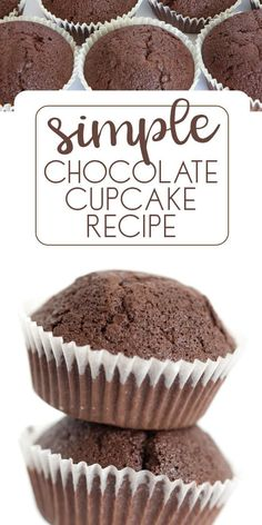 Delicious and simple chocolate cupcake recipe to enjoy. The perfect base for decorated cupcakes or to eat as is. Cover with buttercream for a special treat. Easy Chocolate Cupcake Recipe, Chocolate Chip Cupcakes, Easy Chocolate Desserts, Chocolate Muffins, Köstliche Desserts, Chocolate Recipes, Dessert Recipes, Simple Cupcake Recipe, Chocolate Cupcakes From Scratch