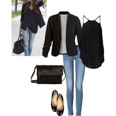 Basic black casual fall outfit, would change the shoes but love this outfit