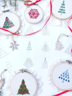 Embroidery Sampler, Simple Embroidery, Hand Embroidery Patterns, Embroidery Designs, Christmas Tree Pattern, Christmas Snowflakes, Merry Christmas, Tree Patterns, Pdf Patterns