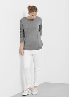 Contrast hem sweater - Cardigans and sweaters Plus size | VIOLETA BY MANGO