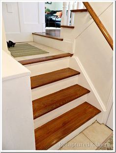 Step by step instructions how to stain wood stairs.