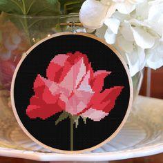 Modern Cross stitch pattern flower red Rose by HELENEWORKSHOP